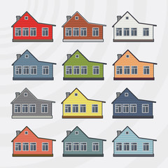 Townhouses vector icon set.