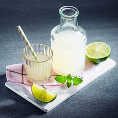 Fresh lemon juice or lemonade with mint