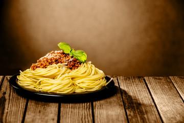Tasty plate of spaghetti Bolognaise