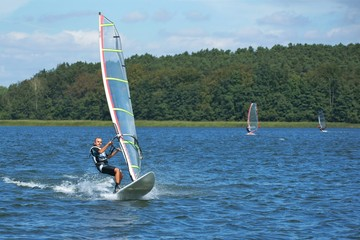 Windsurfing on the lake Nieslysz, Poland