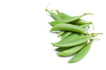 pod of fresh sweet peas on white background