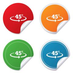 Angle 45 degrees sign icon. Geometry math symbol