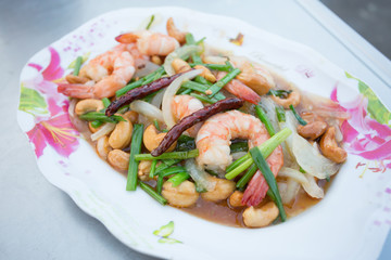 shrimp fried with cashews