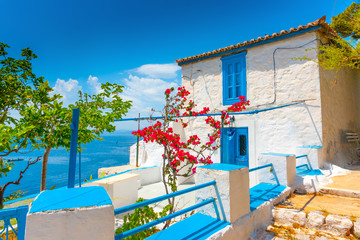traditional house over the main port of Hydra island in Greece