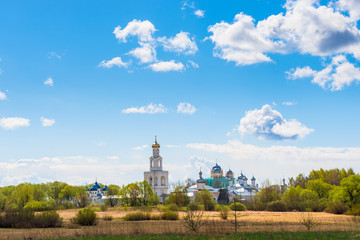beautiful clouds over the monastery in Novgorod