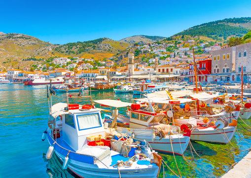 The beautiful main port of Hydra island in Greece