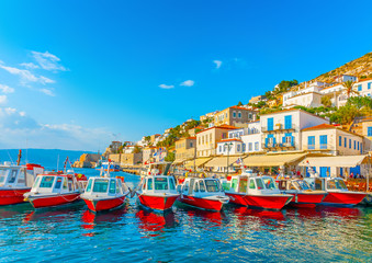 traditional taxi boats in the port of Hydra island in Greece