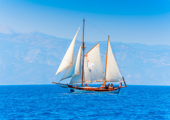 classic wooden sailing boat in Spetses island in Greece