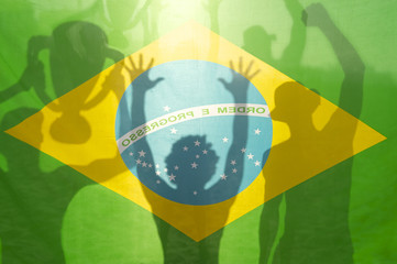Champion Winning Football Players Brazilian Flag