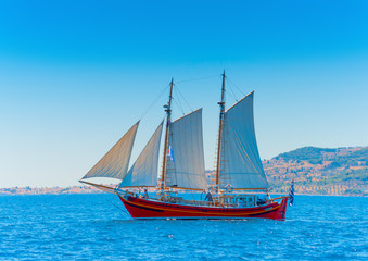 Classic wooden Greek boat (Perama) in Spetses island in Greece