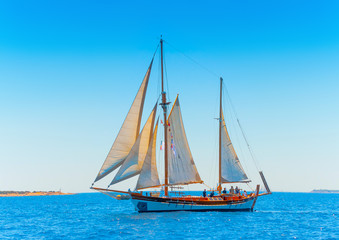 Old classic wooden sailing boat in Spetses island in Greece