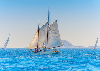 Classic wooden racing sailing boat in Spetses island in Greece