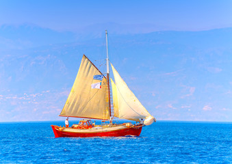 Old classic wooden sailing boat, in Spetses island in Greece