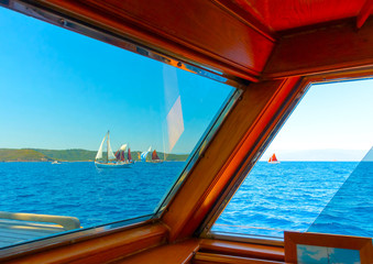 View from an old wooden sailing Greek boat in Greece