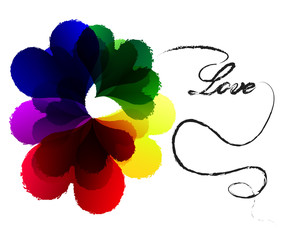 Colorful heart on white background.