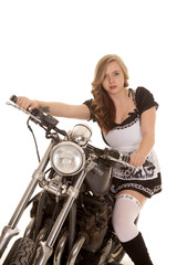 woman black and white dress sit motorcycle look