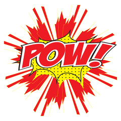 POW! wording in comic speech bubble in pop art style
