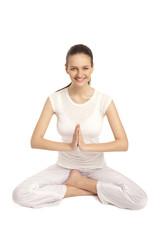 young beautiful yoga posing on a studio background8