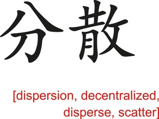 Chinese Sign for dispersion, decentralized, disperse, scatter