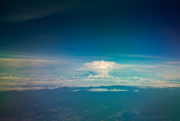 Cloud and blue sky from plane