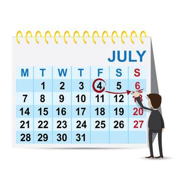 cartoon businessman marking weekend on calendar