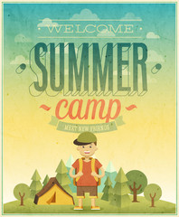 Wall Mural - Summer camp poster.
