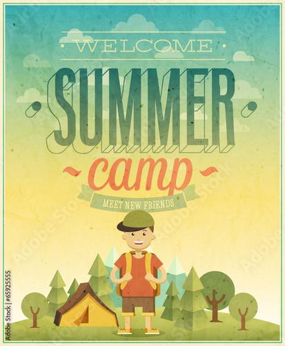 Wall mural Summer camp poster.
