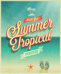 Wall Mural - Tropical paradise poster.