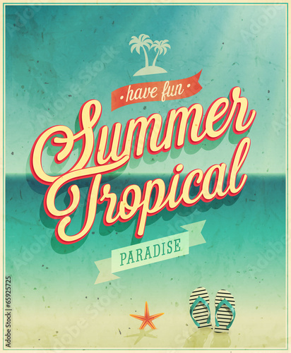 Wall mural Tropical paradise poster.