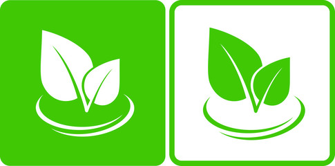 icons with green leaf