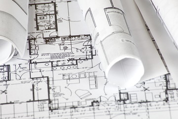 Wall Mural - close - up Architect rolls and plans architectural plan