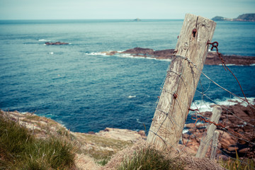 Old fence post by the sea