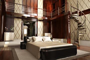 Luxury interior of an elegant bedroom