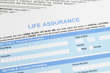 Life assurance application form concept for life planning