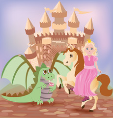 Poster Castle Little princess and cute dragon, vector illustration