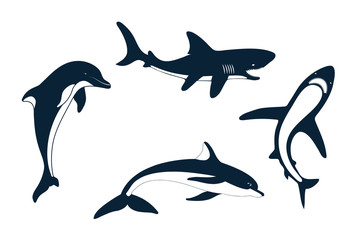 Set of silhouettes of a shark and dolphin
