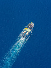 Aerial view of ferry boat in open waters in Greece