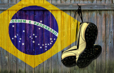 World cup Brazil concept with sport shoes