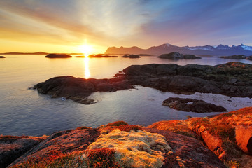 Wall Mural - Ocean coast nice sunset in Norway - Senja