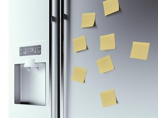 yellow notes on fridge background