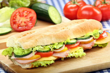 Baguette salad submarine sandwich with ham
