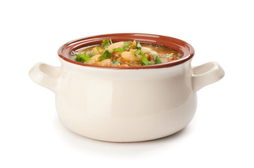bowl of bean soup on white background