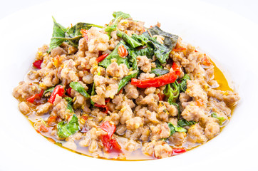Thai spicy food, stir fried pork whit basil