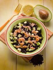 black rice with avocado and smoked salmon