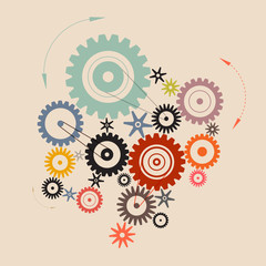 Vector Cogs - Gears Illustration in Retro Style