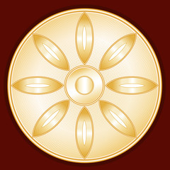 Buddhism Symbol, Lotus Blossom, gold symbol of Buddhist faith