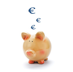 Piggy bank with euro signs above isolated on white