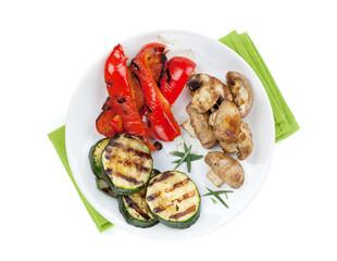 Grilled vegetables on plate
