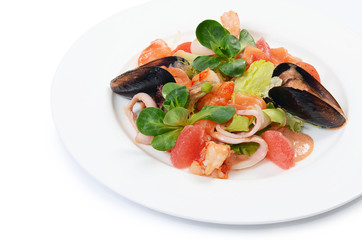 Salad from seafood and a salmon