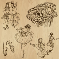 Dancers no. 4 - hand drawn collection, vector